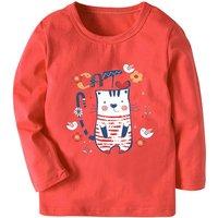 Lovely Cat Print Long-sleeve Top for Toddler Girl and Girl