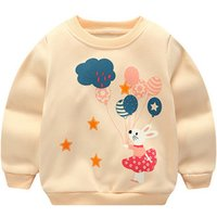 Adorable Rabbit and Balloon Print Pullover for Baby and Toddler Girl