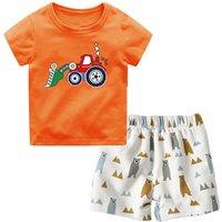 Casual Bulldozer Print Short-sleeve Top and Shorts Set for Baby Boy