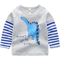Faux-two Stylish Dinosaur Print Striped Long-sleeve Top