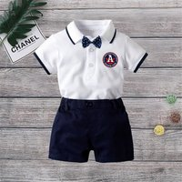 2-piece Baby's Bow Tie Polo Bodysuit and Shorts