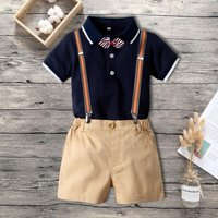 Baby Boy Bow Tie Polo Collar Bodysuit and Suspender Shorts Set