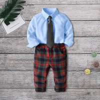 Baby / Toddler Boy Gentleman Shirt, Plaid Pants and Necktie Set