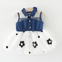 Pretty Color-blocking Flower Decor Mesh Sleeveless Dress for Baby and Toddler Girl