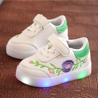 Pretty Flower Embroidered LED Velcro Sneakers for Toddler Girl and Girl