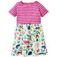Pretty Striped Short-sleeve Animal Print Dress for Girl