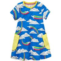 Comfy Rainbow Pattern Short Sleeves Dress for Toddler Girl and Girl