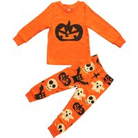 2-piece Halloween Pumpkin Tee and Patterned Pants for Toddler Boys