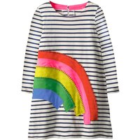 Pretty Rainbow Appliqued Striped Long-sleeve Dress for Baby Girl and Girl