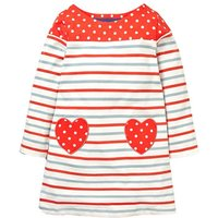 Heart-shaped Applique Striped Long-sleeve Dress for Toddler Girl and Girl