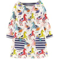 Stylish Horse Patterned Long-sleeve Dress for Toddler Girl and Girl