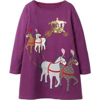 Trendy Horse and Carriage Applique Long-sleeve Dress for Toddler Girl and Girl