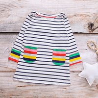 Stylish Striped Long-sleeve Dress for Toddler Girl and Girl