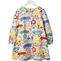 Stylish Car and Flower Patterned Long-sleeve Dress for Toddler Girl and Girl