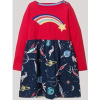 Stylish Space Star and Rainbow Applique Long-sleeve Dress for Toddler Girl and Girl