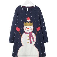 Stylish Dotted Snowman Appliqued Long-sleeve Dress for Baby Girl and Girl