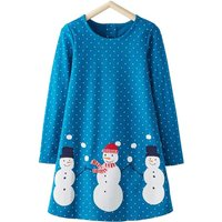 Casual Dotted Snowman Print Long-sleeve Dress for Baby Girl and Girl