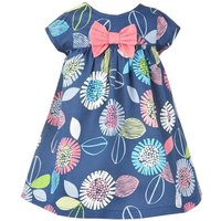 Stylish Floral Bow Decor Short-sleeve Dress for Toddler Girl and Girl