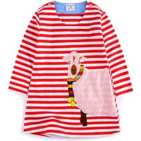 Super Cute Sheep Applique Striped Long-sleeve Dress for Toddler Girl