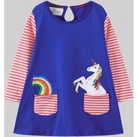 Causal Rainbow and Unicorn Pattern Stripe Splice Long-sleeve Dress