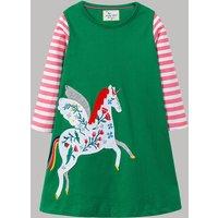 Stylish Unicorn Pattern Applique Flower Embroidered Stripe Splice Long-sleeve Dress