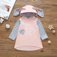 Cute Striped Bunny Design 3D Ear Letter Print Hooded Tee Dress