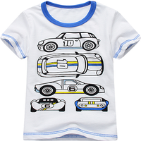 Casual Car Print Short Sleeves Tee for Boys