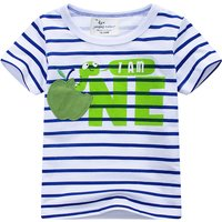Funny Apple Applique Striped Tee for Boys