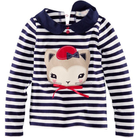 Pretty Striped Cat Applique Long-sleeve T-shirt for Baby Girl and Girl