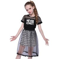 2-piece Trendy Black Letter Top and Stripes Mesh Overlay Skirt for Girls
