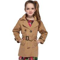 Trendy Solid Lapel Overcoat in Khaki for Girl