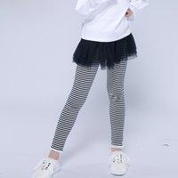 Trendy Faux-two Striped Tulle Skirt Leggings for Girl