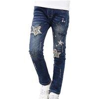 Stylish Tassel Star Applique Jeans for Girls