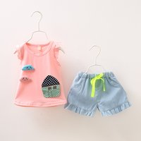 2-piece Lovely House and Cloud Applique Top and Shorts for Baby Girl