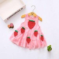 Sweet Strawberry Applique Chiffon Sundress for Toddler Girls