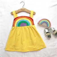 Lovely Rainbow Decor Strap Dress in Yellow for Baby and Toddler Girl
