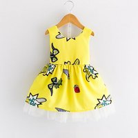 Bright Printed Backless Cinched Sleeveless Dress for Toddler Girl and Girl