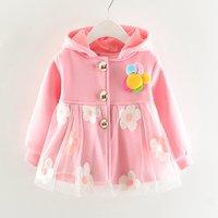 Baby Girl's 3D Flower Decor Mesh Overlay Hooded Coat
