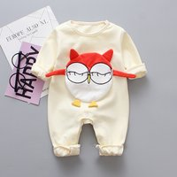 Cute Bird Appliqued Long-sleeve Jumpsuit for Baby Girl
