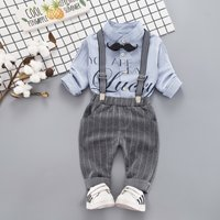 Cool My Lucky Moustache Shirt and Suspender Pants Set for Baby boy