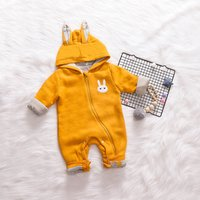 Lovely Rabbit Applique Hooded Long Sleeves Jumpsuit for Baby Girl