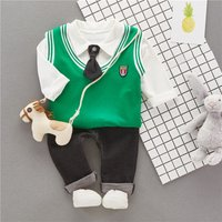 Baby Boy's Preppy Style Long-sleeve Shirt V Neck Vest and Pants Set