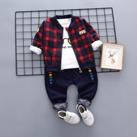 3-piece Fun Glasses Top Plaid Coat and Pants Set for Baby and Toddler Boy