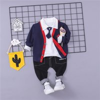 3-piece Trendy Bow Tie Decor Top, Coat and Pants Set for Baby Boy