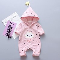 Soft Stars Print Hooded Long Sleeves Jumpsuit for Baby Boy