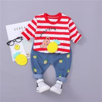 Casual Striped Pineapple Print Top and Pants Set for Baby Boy