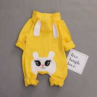 Cute Rabbit Design Long-sleeve Hooded Jumpsuit in Yellow for Baby