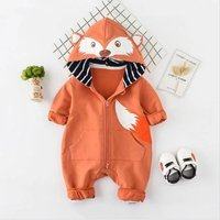 Cute Fox Print Long-sleeve Hooded Jumpsuit for Baby Boy