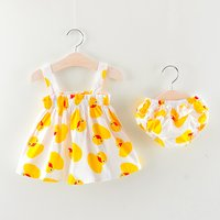 Super Cute Duckling Patterned Strap Dress and Shorts Set for Baby and Toddler Girl