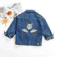 Trendy UFO Cat Embroidered Denim Jacket